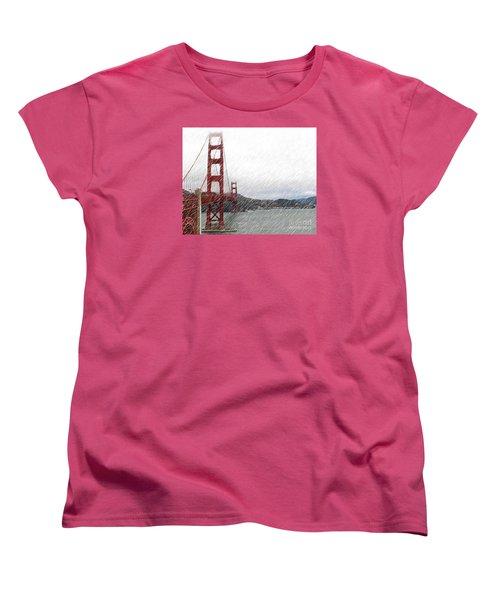 Women's T-Shirt (Standard Cut) featuring the photograph Golde Gate Rain by Cheryl Del Toro