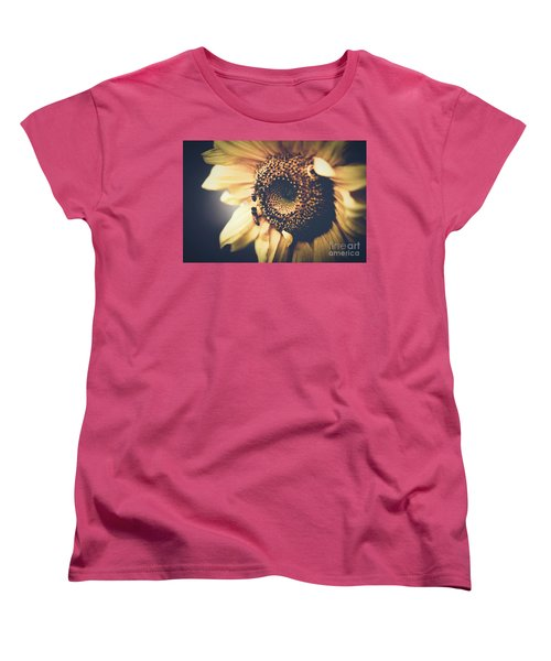 Women's T-Shirt (Standard Cut) featuring the photograph Golden Honey Bees And Sunflower by Sharon Mau