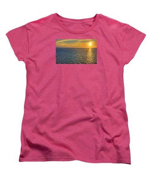 Women's T-Shirt (Standard Cut) featuring the photograph Golden Hour At Sea by Lewis Mann