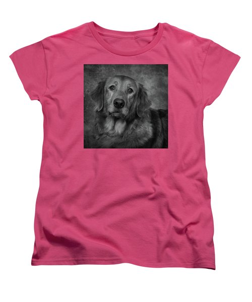 Golden Retriever In Black And White Women's T-Shirt (Standard Cut) by Greg Mimbs