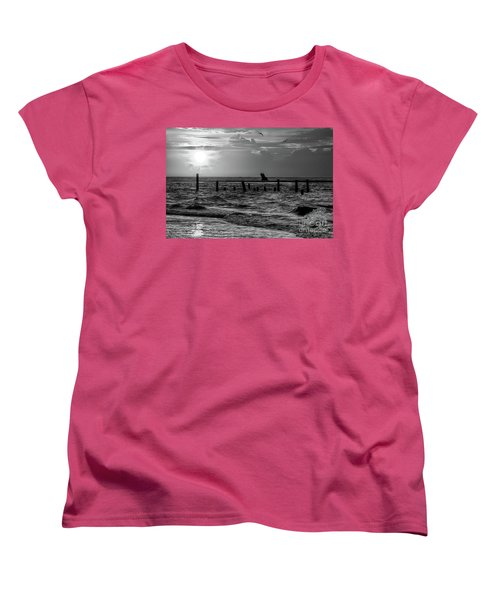 Women's T-Shirt (Standard Cut) featuring the photograph Golden Sunrise On The Outer Banks  Bw by Dan Carmichael