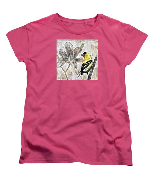 Goldfinch And Lily Women's T-Shirt (Standard Cut) by Sheri Howe