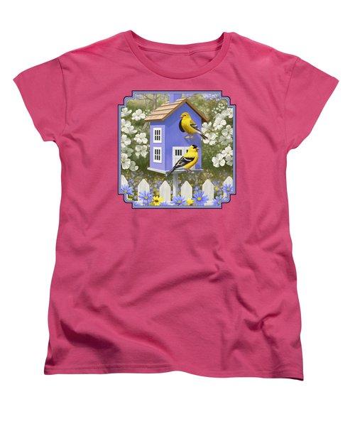 Goldfinch Garden Home Women's T-Shirt (Standard Cut) by Crista Forest