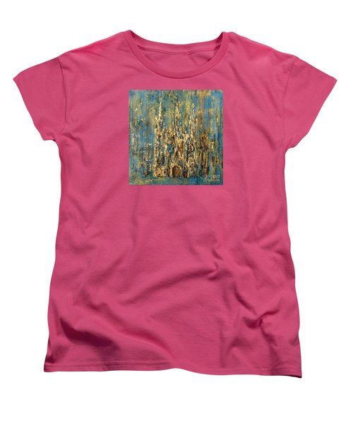 Women's T-Shirt (Standard Cut) featuring the painting Gothic Church  by Arturas Slapsys