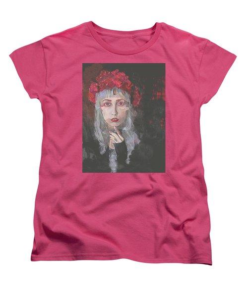Women's T-Shirt (Standard Cut) featuring the digital art Gothic Petal by Galen Valle
