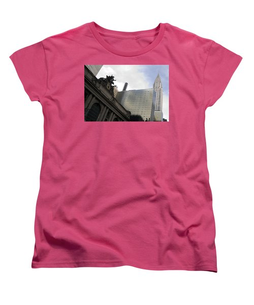Grand Central And The Chrysler Building Women's T-Shirt (Standard Cut) by Michael Dorn