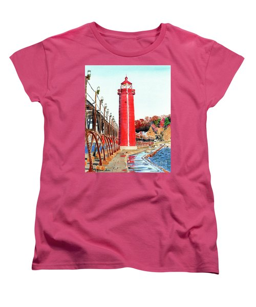 Women's T-Shirt (Standard Cut) featuring the painting Grand Haven Autumn by LeAnne Sowa