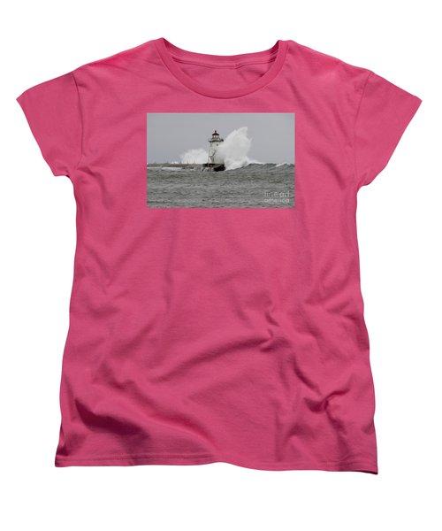 Grand Marais Lighthouse Women's T-Shirt (Standard Cut) by Sandra Updyke