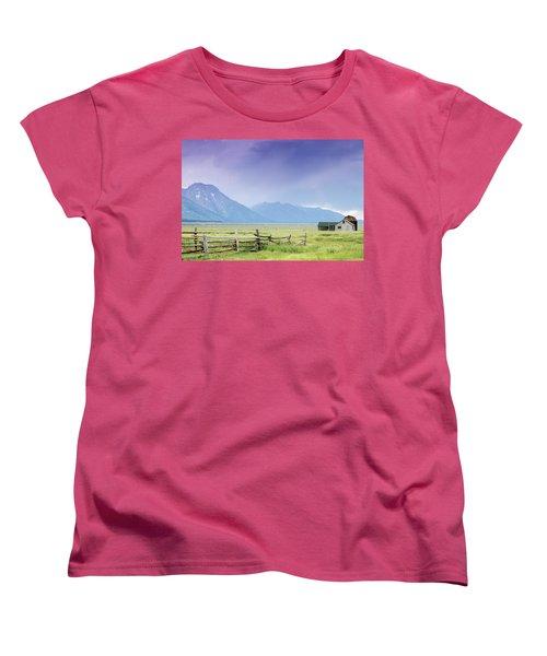 Women's T-Shirt (Standard Cut) featuring the photograph Grand Teton Homestead by Dawn Romine