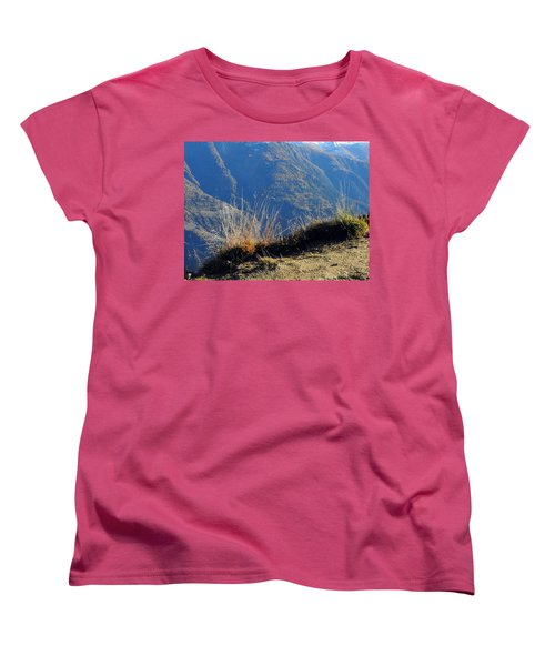 Grass In The Foreground, The Main Valley Of The Swiss Canton Of Valais In The Background Women's T-Shirt (Standard Cut) by Ernst Dittmar