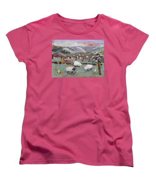 Grazing Woolies Women's T-Shirt (Standard Cut) by Christine Lathrop