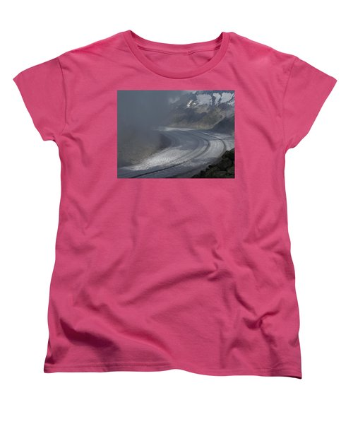 Great Aletsch Glacier In The Clouds. Canton Of Valais, Switzerland. Women's T-Shirt (Standard Cut) by Ernst Dittmar