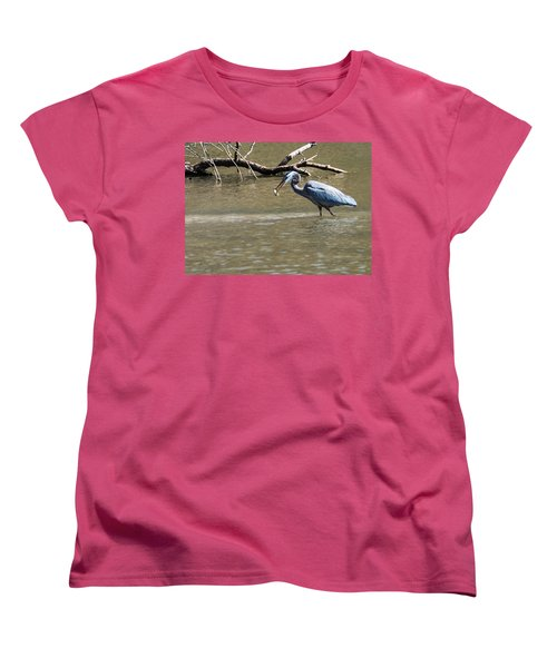 Women's T-Shirt (Standard Cut) featuring the photograph Great Blue Heron Dinning by Edward Peterson