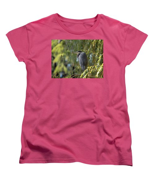 Great Blue Heron In A Willow Tree Women's T-Shirt (Standard Cut) by Keith Boone