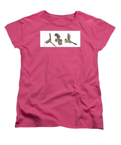 Women's T-Shirt (Standard Cut) featuring the photograph Great Grey Owl Hunting by Mircea Costina Photography