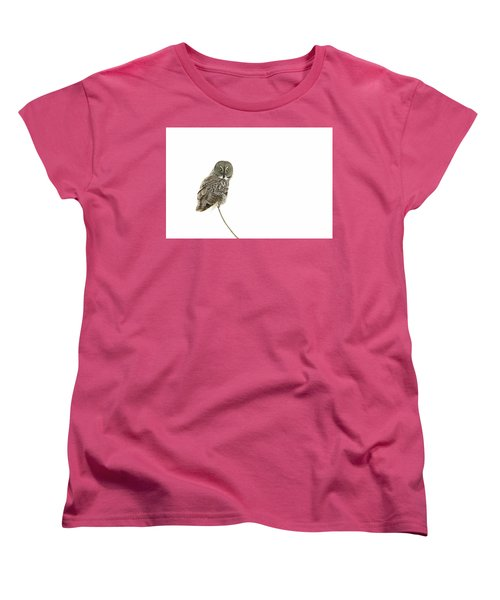 Women's T-Shirt (Standard Cut) featuring the photograph Great Grey Owl On White by Mircea Costina Photography