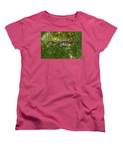 Great Horned Owl Take Off Women's T-Shirt (Standard Cut) by Marc Crumpler