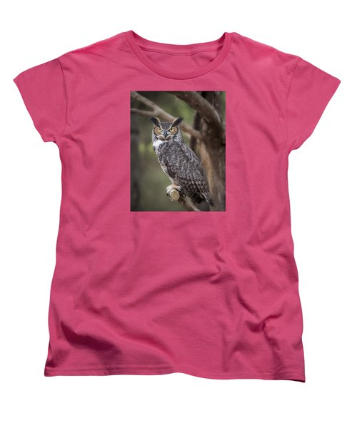 Women's T-Shirt (Standard Cut) featuring the photograph Great Horned Owl by Tyson and Kathy Smith