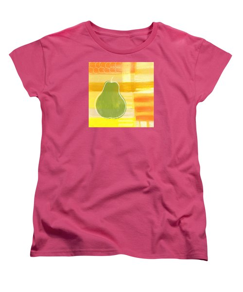 Women's T-Shirt (Standard Cut) featuring the painting Green Pear- Art By Linda Woods by Linda Woods