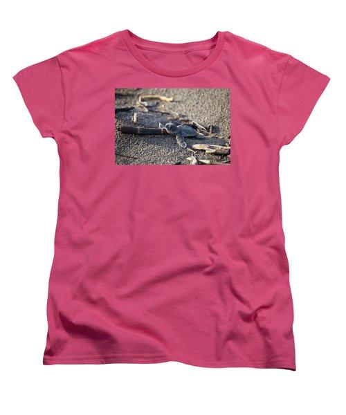 Green Sea Turtle Hatchling Women's T-Shirt (Standard Cut) by Breck Bartholomew