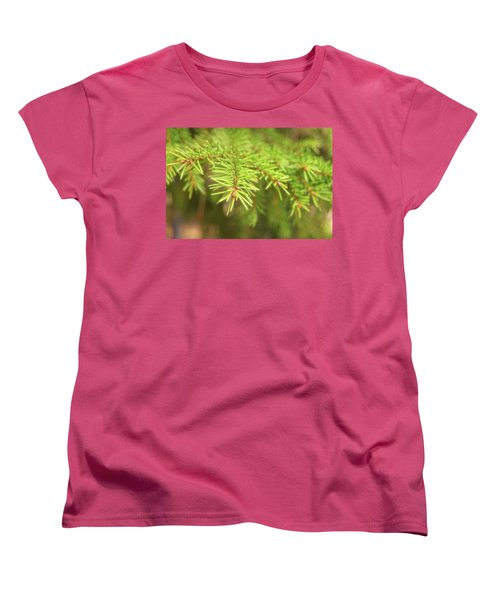 Green Spruce Branch Women's T-Shirt (Standard Cut) by Anton Kalinichev