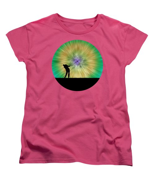 Green Tie Dye Golfer Silhouette Women's T-Shirt (Standard Cut) by Phil Perkins