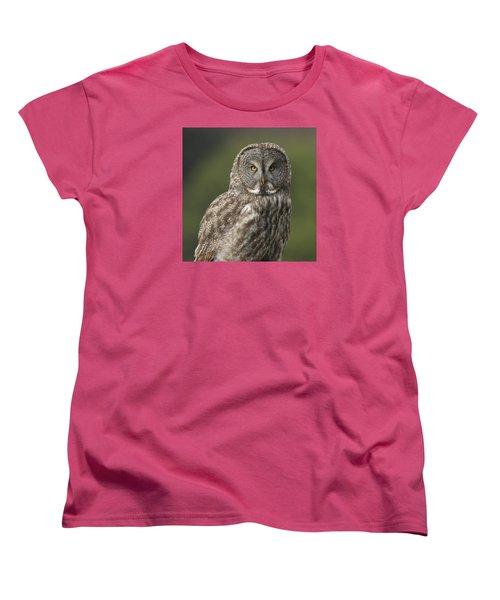 Great Gray Owl Portrait Women's T-Shirt (Standard Cut) by Doug Herr