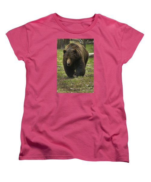 Grizzly Boar-signed-#7914 Women's T-Shirt (Standard Cut) by J L Woody Wooden