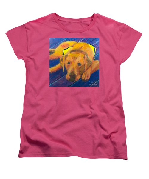 Women's T-Shirt (Standard Cut) featuring the painting Growing Puppy by Donald J Ryker III