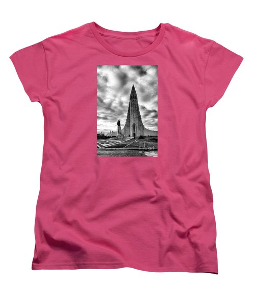 Women's T-Shirt (Standard Cut) featuring the photograph Hallgrims Kirkja Iceland by Rick Bragan