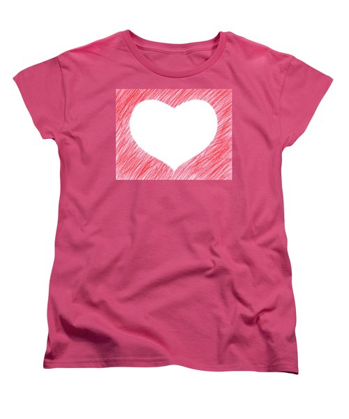 Hand-drawn Red Heart Shape Women's T-Shirt (Standard Cut) by GoodMood Art