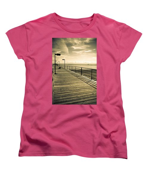 Harbor Beach Michigan Boardwalk Women's T-Shirt (Standard Cut) by LeeAnn McLaneGoetz McLaneGoetzStudioLLCcom