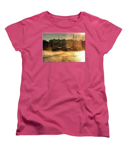 Women's T-Shirt (Standard Cut) featuring the photograph Harbor Mist by Brian Wallace