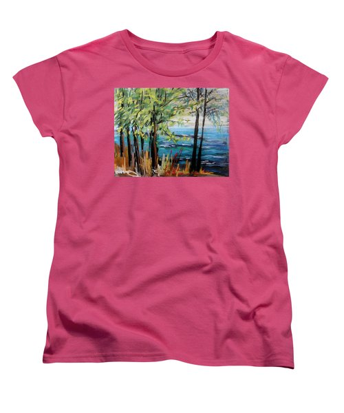 Women's T-Shirt (Standard Cut) featuring the painting Harbor Trees by John Williams
