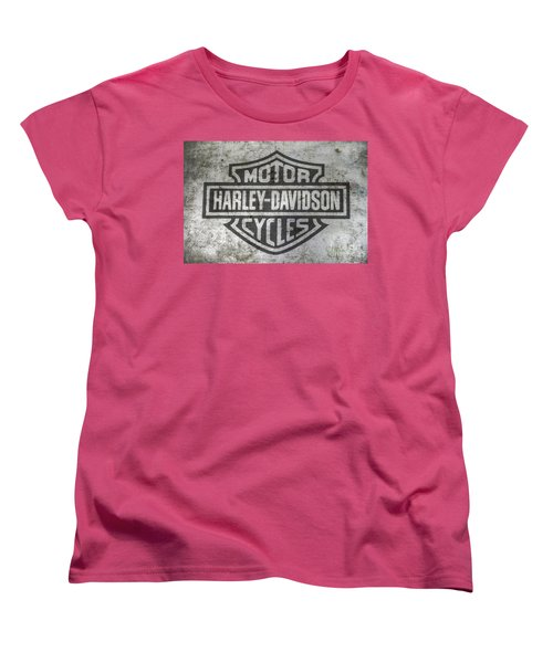 Harley Davidson Logo On Metal Women's T-Shirt (Standard Cut) by Randy Steele