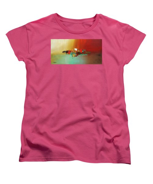 Women's T-Shirt (Standard Cut) featuring the painting Hashtag Happy - Abstract Art by Carmen Guedez