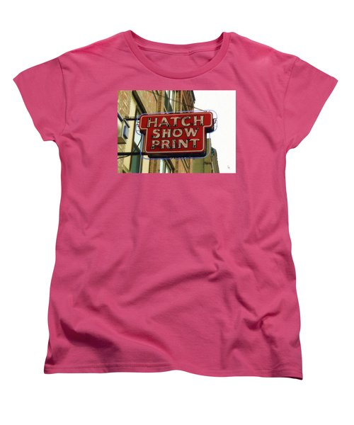 Women's T-Shirt (Standard Cut) featuring the painting Hatch Show Print by Sandy MacGowan