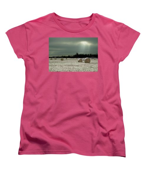 Hay Bales In The Snow Women's T-Shirt (Standard Cut) by Judy Johnson