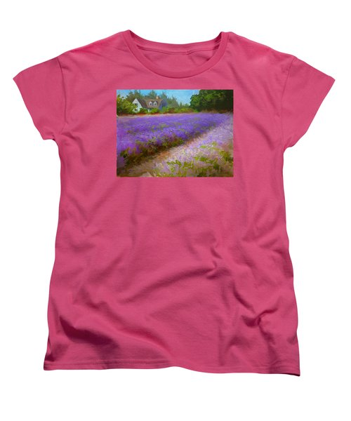 Impressionistic Lavender Field Landscape Plein Air Painting Women's T-Shirt (Standard Cut) by Karen Whitworth