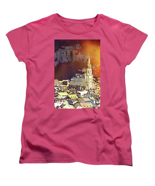 Women's T-Shirt (Standard Cut) featuring the painting Heidelberg Sunset- Germany by Ryan Fox