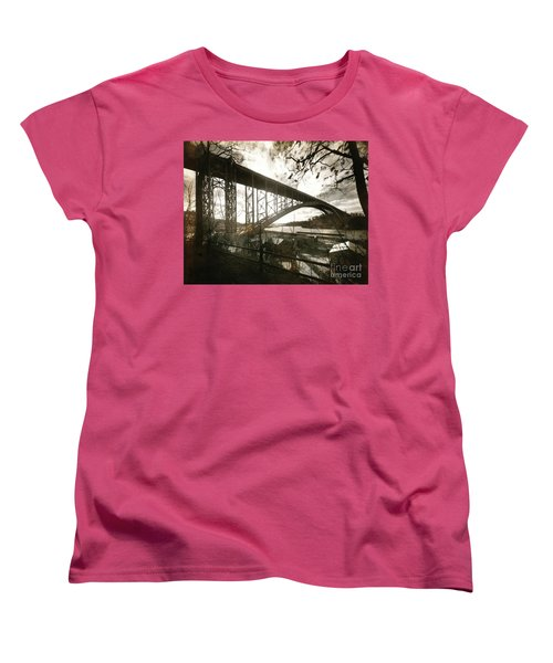 Women's T-Shirt (Standard Cut) featuring the photograph Henry Hudson Bridge, 1936 by Cole Thompson