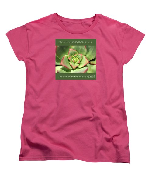 Hens And Chicks Succulent And Design Women's T-Shirt (Standard Cut) by Joy Watson
