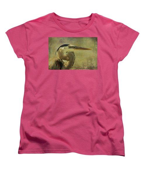 Heron On Texture Women's T-Shirt (Standard Cut) by Deborah Benoit