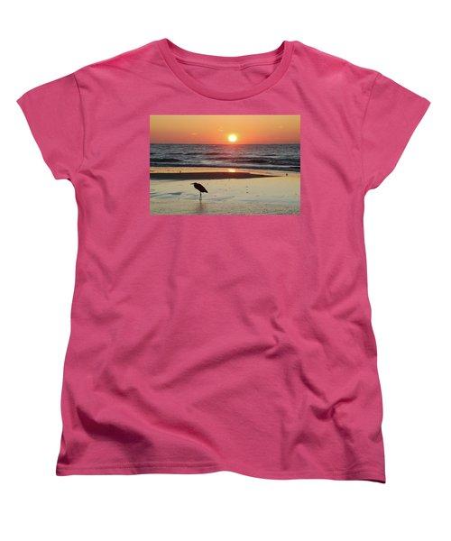 Heron Watching Sunrise Women's T-Shirt (Standard Cut) by Michael Thomas