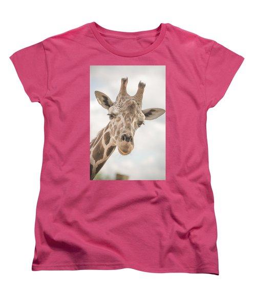 Hi There, I'm A Giraffe Women's T-Shirt (Standard Cut) by David Collins