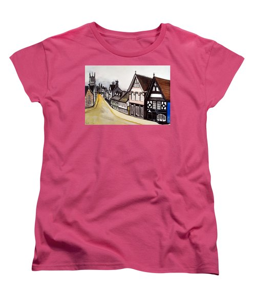 High Street Of Stamford In England Women's T-Shirt (Standard Cut) by Dora Hathazi Mendes
