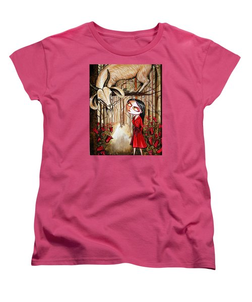 Women's T-Shirt (Standard Cut) featuring the painting Higher Ground by Leanne WILKES
