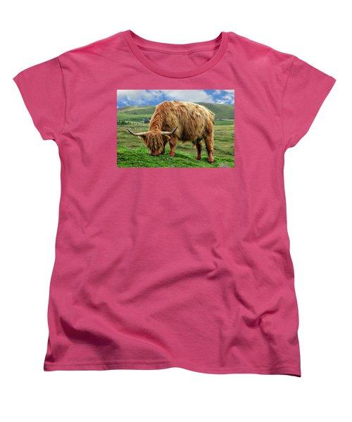 Highland Cow Women's T-Shirt (Standard Cut) by Anthony Dezenzio