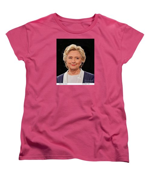 Hillary At The Debate Women's T-Shirt (Standard Cut) by Fred Jinkins