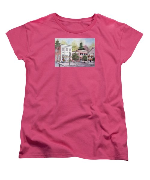 Women's T-Shirt (Standard Cut) featuring the painting Historic Blue Ridge, Georgia by Gretchen Allen